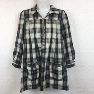 Free People Tunic Top 6 Plaid Embroidered Roll
